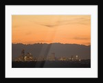 North America, United States, Washington, Seattle skyline at sunset, with Olympic Mountains behind ( by Corbis