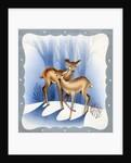 Vintage Illustration of Deer in the Woods by Corbis