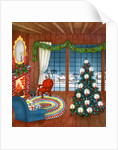 Vintage Illustration of Christmas Tree by Fireplace by Corbis