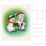 Vintage Illustration of Christmas Snowman Couple by Corbis