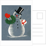 Vintage Illustration of Christmas Snowman by Corbis