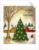 Vintage Illustration of Christmas Tree in a Town Square by Corbis