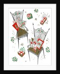 Vintage Illustration of Chairs with Christmas Cards and Gifts by Corbis