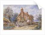 Children by a Thatched Cottage at Chiddingfold by Myles Birket Foster