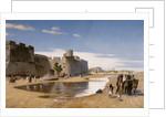 An Arab Caravan outside a Fortified Town by Jean-Leon Gerome
