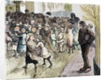 Poverty in Sheffield. Needy kids going to the distribution of food in Vestryhall. Colored engraving by Corbis