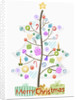 Illustration of Christmas tree and merry Christmas sign by Corbis