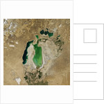 Satellite view of the Aral Sea in 2004, with the 1960 shoreline super-imposed by Corbis