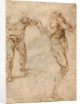 Two Nude Studies of a Man Storming Forward and Another Turning to the Right (verso) by Michelangelo