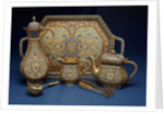 A six piece enamel silver gilt tea and coffee service by Corbis