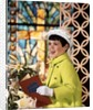 1960s Smiling Happy Young Girl Easter Sunday Clothes Green Coat White Bonnet Hat Gloves Holding Church Hymnal by Corbis