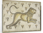 A Byzantine marble mosaic panel depicting a lion in a field of flowers by Corbis