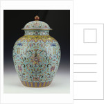 A famille rose turquoise-ground vase and cover by Corbis