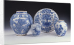 A selection of Frankfurt blue and white ceramics in a Chinese style, circa 1680-1690 by Corbis