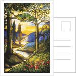 Tiffany Studios leaded glass scenic window by Corbis