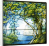Tiffany Studios leaded glass landscape window depicting a passage to the sea by Corbis