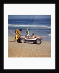1970 1970s 2 Couples Men Women On Beach With Red White Dune Buggy Leisure Sport Lifestyle Vehicle Fun Summer by Corbis