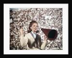1960s Female Cheerleader Cheering Red Megaphone Wearing Sweater by Corbis