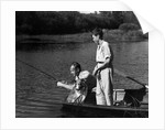 1930s Man Father Teenage Boy Son Dog In Row Boat Fishing In Pond by Corbis