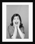 1960s Brunette Woman Screaming Mouth Wide Open Hands To Face Facial Expression Fear Scream Surprise Character Funny Face by Corbis