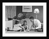1950s Family Of 4 Gathered In Living Room Playing With Letter Blocks by Corbis