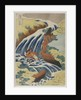 Two men washing a horse in a waterfall by Katsushika Hokusai
