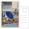 A young woman with a blue open umbrella in a boat between wooden bridge supports by Utagawa Kuniyoshi