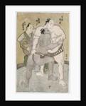 The wrestling bout between the komusubi of the Eastern Group Uzugafuchi Kan'dayu and the maegashira of the Western Group Sekinoto Hachiroji, refereed by Kimura Shonosuke by Katsukawa Shunsho
