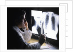 1980s doctor looking at x-ray while speaking on telephone by Corbis