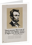 1920s American Banking Poster, Abe Lincoln Teach Economy by Corbis