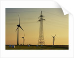 Wind energy plant and power pole by Corbis
