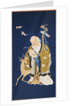 A large kesi hanging scroll depicting Shoulao holding a peach, embracing a rootwood staff with a dragon head beside a deer and two bats in flight by Corbis