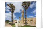 Caesarea Harbor National Park, Crusader City, a roman sarcophagus adorned with rosettes and the minaret of Bosnian Mosque by Corbis