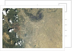 Satellite view of Colorado Springs and the Waldo Canyon Fire burn scar by Corbis