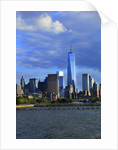 Downtown view with the Freedom tower from the Hudson River greenway by Corbis