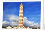 Barra Lighthouse, Costa Nova, Aveiro with large clouds by Corbis