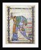 "Manuscript illumination of knight fighting dragon and illuminated ""R"" by Corbis"