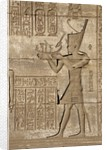 Ancient Egyptian sunken relief depicting man carrying a symbolic bark, detail of a Roman mammisi by Corbis