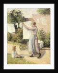 Woman extending linen by Camille Pissarro