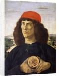 Portrait of a young man holding a medallion of Cosimo I de' Medici by Sandro Botticelli