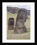 Statues called moais at Rano Raraku by Corbis
