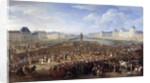 King Louis XIV in triumphal carriage crossing the Pont Neuf in Paris by Adam Frans van der Meulen