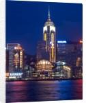 Convention Centre at night, Victoria Harbor, Wanchai, Hong Kong, China by Corbis