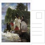 Feeding swans by Eugene Giraud