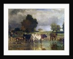 Calf and cows at the marl or The watering by Constant Troyon