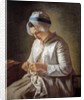 The Seamstress or Young Woman Working by Francoise Duparc