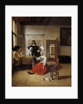 Woman drinking with soldiers by Pieter de Hooch