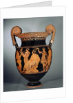 Krater with Dionysus seated between mythological characters, end by Corbis
