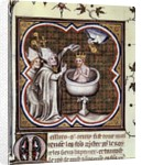 Baptism of Clovis by St. Remy at Reims in 496 by Jean Fouquet