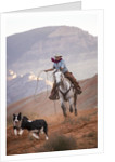 Cowgirl at Full Gallop with Cowdogs leading way by Corbis